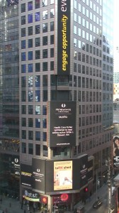 taRNished, the debut novel for Willie L Stewart appears on the 7,400 square foot Reuter's building billboard in New York's TIMES SQUARE